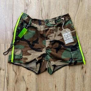 LF Furst of Kind Camo Shorts with Chain Belt